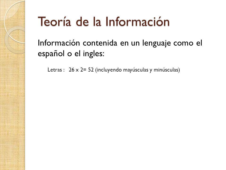 Teoría de la Información Información contenida en un lenguaje como el español o el ingles: Letras : 26 x 2= 52 (incluyendo mayúsculas y minúsculas)