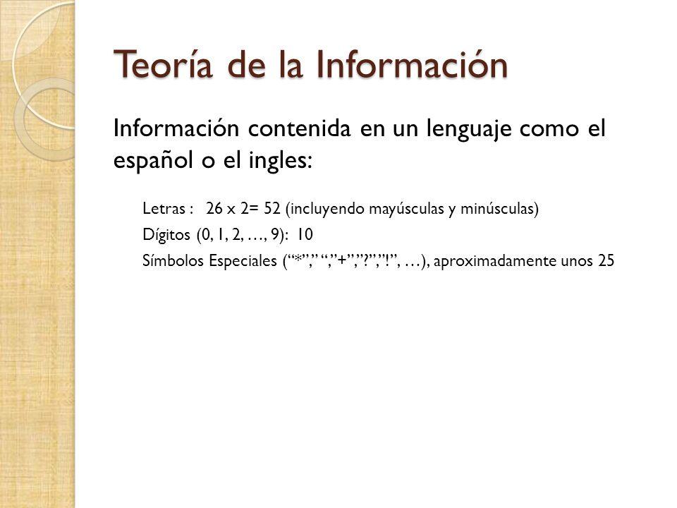Teoría de la Información Información contenida en un lenguaje como el español o el ingles: Letras : 26 x 2= 52 (incluyendo mayúsculas y minúsculas) Dígitos (0, 1, 2, …, 9): 10 Símbolos Especiales (*,,+,?,!, …), aproximadamente unos 25