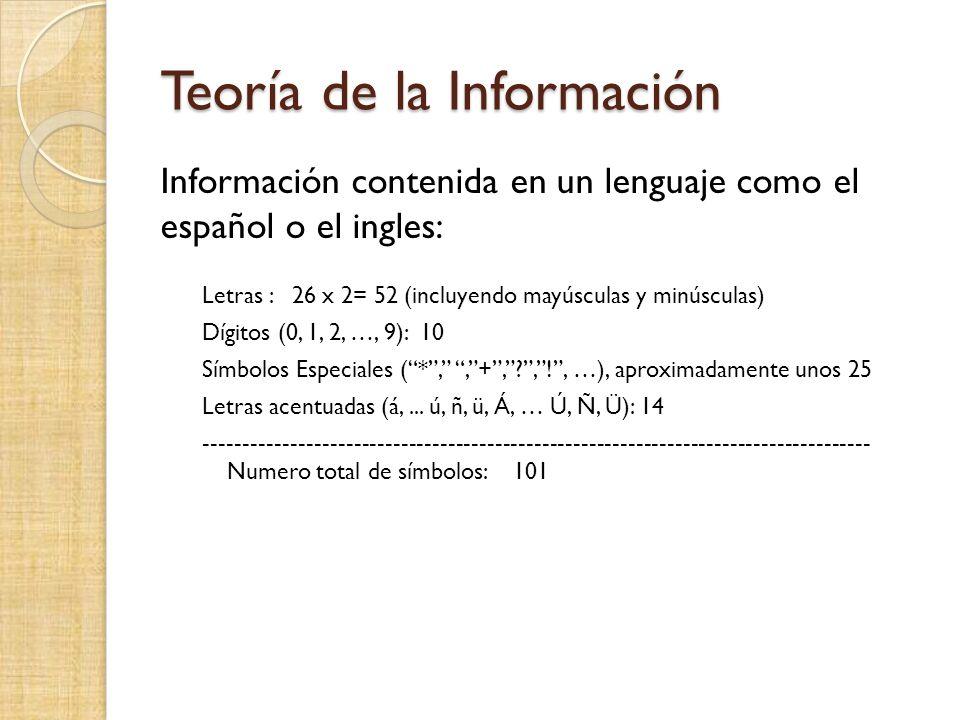 Teoría de la Información Información contenida en un lenguaje como el español o el ingles: Letras : 26 x 2= 52 (incluyendo mayúsculas y minúsculas) Dígitos (0, 1, 2, …, 9): 10 Símbolos Especiales (*,,+,?,!, …), aproximadamente unos 25 Letras acentuadas (á,...