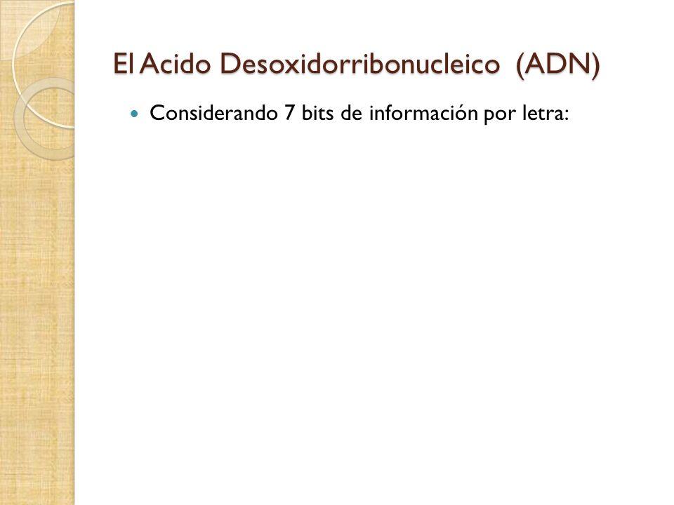 El Acido Desoxidorribonucleico (ADN) Considerando 7 bits de información por letra: