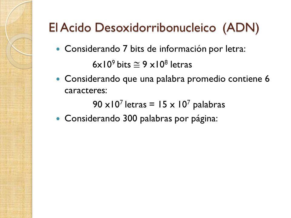 El Acido Desoxidorribonucleico (ADN) Considerando 7 bits de información por letra: 6x10 9 bits 9 x10 8 letras Considerando que una palabra promedio contiene 6 caracteres: 90 x10 7 letras = 15 x 10 7 palabras Considerando 300 palabras por página: