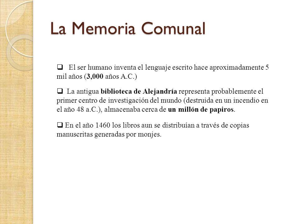 La Memoria Comunal El ser humano inventa el lenguaje escrito hace aproximadamente 5 mil años (3,000 años A.C.) La antigua biblioteca de Alejandría representa probablemente el primer centro de investigación del mundo (destruida en un incendio en el año 48 a.C.), almacenaba cerca de un millón de papiros.
