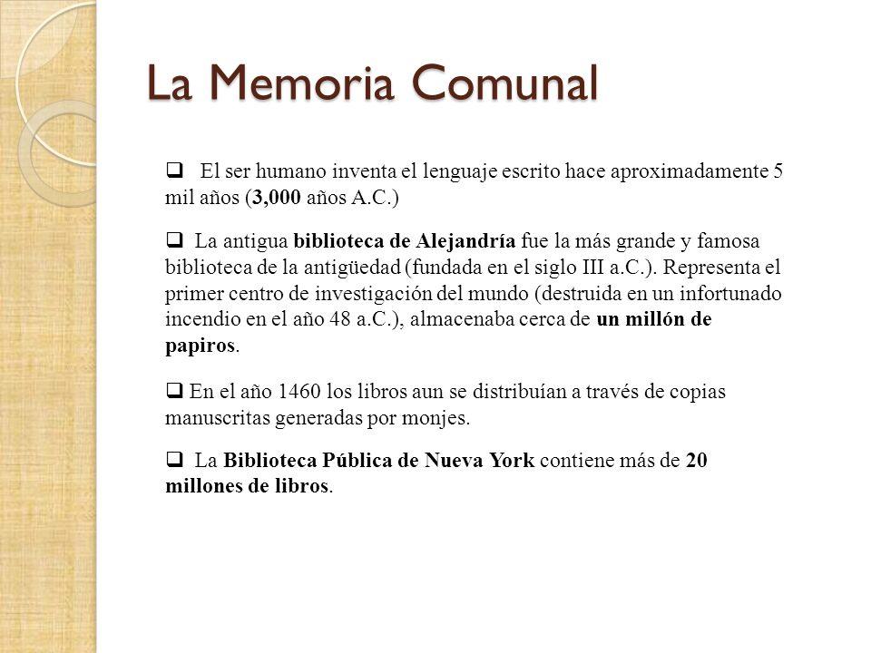 La Memoria Comunal El ser humano inventa el lenguaje escrito hace aproximadamente 5 mil años (3,000 años A.C.) La antigua biblioteca de Alejandría fue la más grande y famosa biblioteca de la antigüedad (fundada en el siglo III a.C.).
