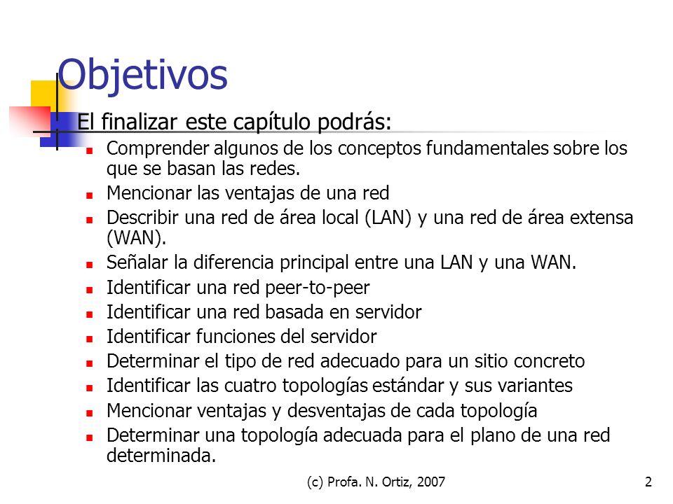 (c) Profa. N. Ortiz, 20072 Objetivos El finalizar este capítulo podrás: Comprender algunos de los conceptos fundamentales sobre los que se basan las r