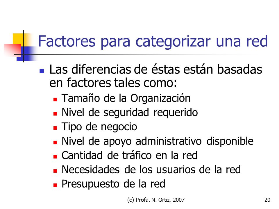 (c) Profa. N. Ortiz, 200720 Factores para categorizar una red Las diferencias de éstas están basadas en factores tales como: Tamaño de la Organización