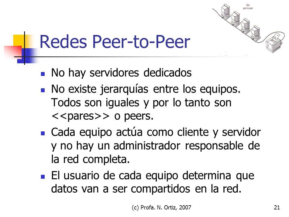 (c) Profa. N. Ortiz, 200721 Redes Peer-to-Peer No hay servidores dedicados No existe jerarquías entre los equipos. Todos son iguales y por lo tanto so
