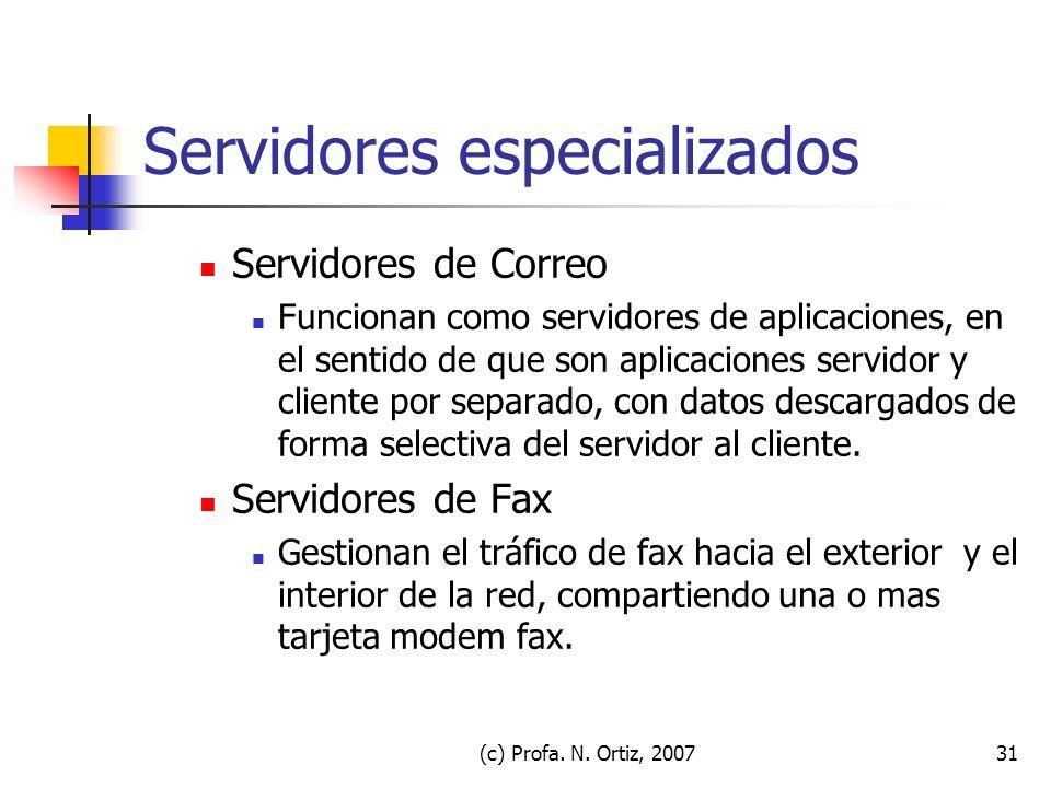 (c) Profa. N. Ortiz, 200731 Servidores especializados Servidores de Correo Funcionan como servidores de aplicaciones, en el sentido de que son aplicac