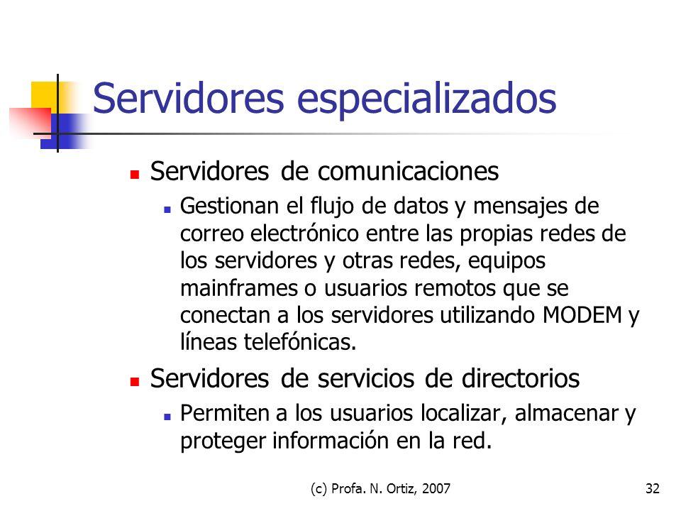 (c) Profa. N. Ortiz, 200732 Servidores especializados Servidores de comunicaciones Gestionan el flujo de datos y mensajes de correo electrónico entre
