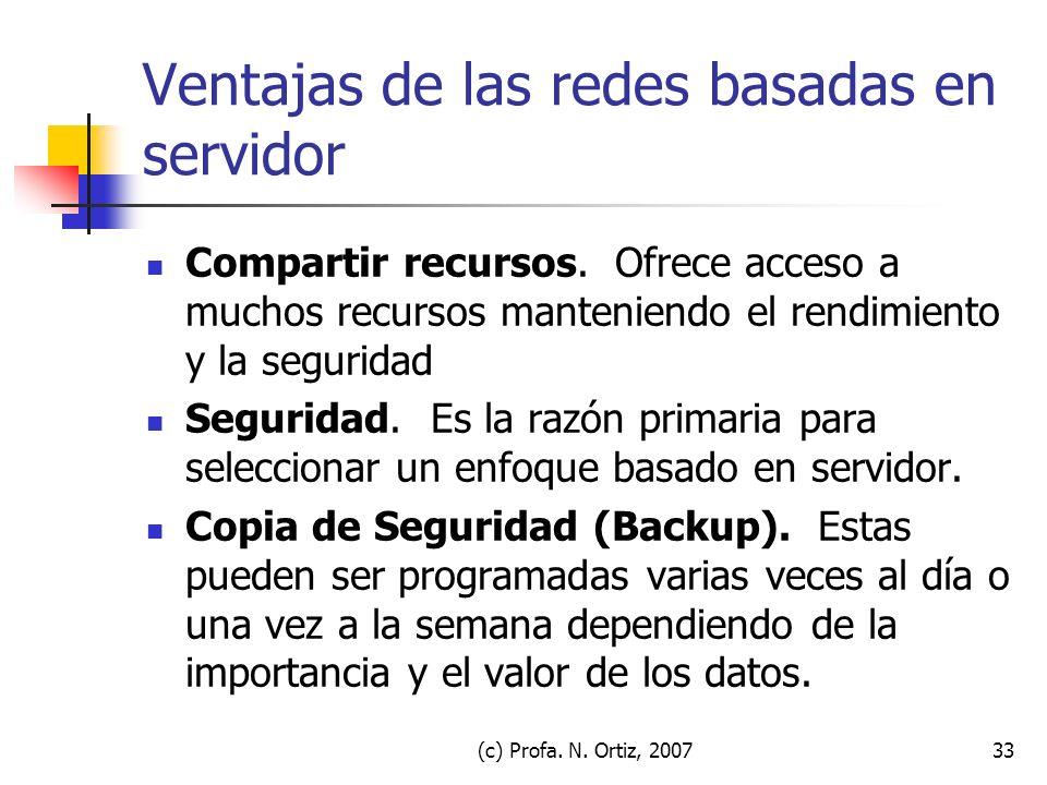 (c) Profa. N. Ortiz, 200733 Ventajas de las redes basadas en servidor Compartir recursos. Ofrece acceso a muchos recursos manteniendo el rendimiento y