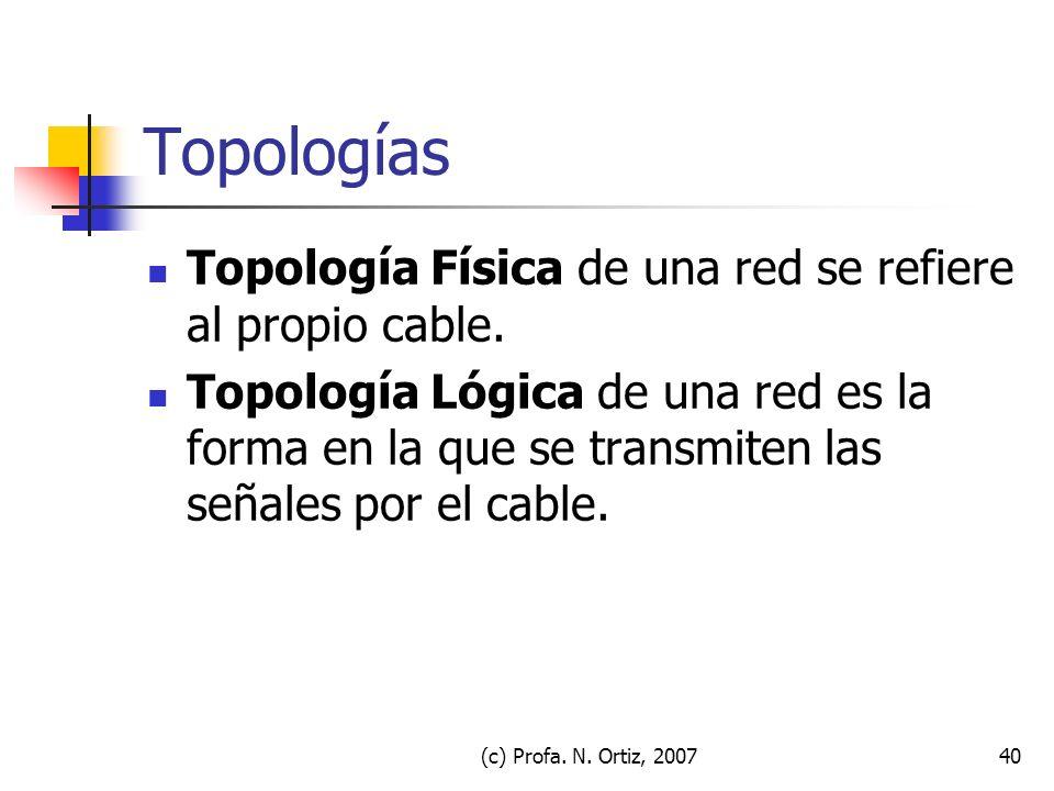 (c) Profa. N. Ortiz, 200740 Topologías Topología Física de una red se refiere al propio cable. Topología Lógica de una red es la forma en la que se tr