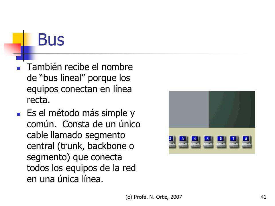 (c) Profa. N. Ortiz, 200741 Bus También recibe el nombre de bus lineal porque los equipos conectan en línea recta. Es el método más simple y común. Co