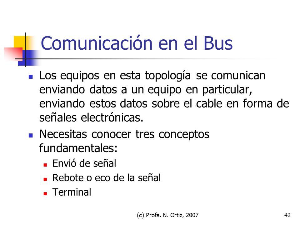 (c) Profa. N. Ortiz, 200742 Comunicación en el Bus Los equipos en esta topología se comunican enviando datos a un equipo en particular, enviando estos