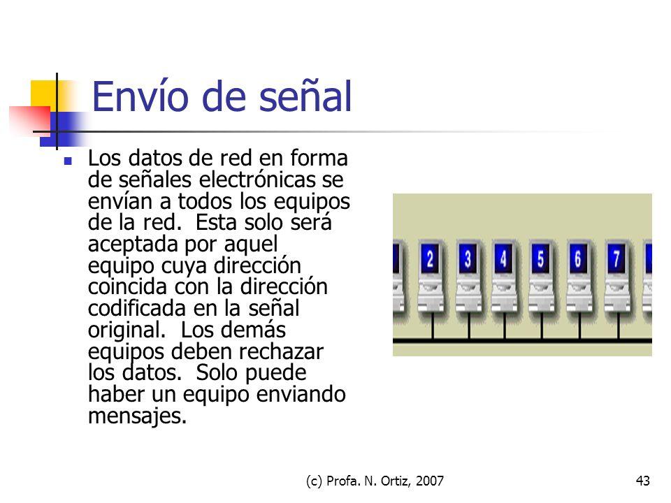 (c) Profa. N. Ortiz, 200743 Envío de señal Los datos de red en forma de señales electrónicas se envían a todos los equipos de la red. Esta solo será a