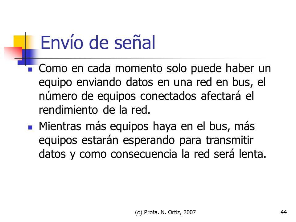 (c) Profa. N. Ortiz, 200744 Envío de señal Como en cada momento solo puede haber un equipo enviando datos en una red en bus, el número de equipos cone