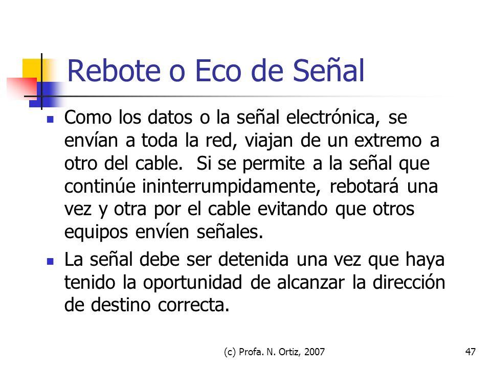 (c) Profa. N. Ortiz, 200747 Rebote o Eco de Señal Como los datos o la señal electrónica, se envían a toda la red, viajan de un extremo a otro del cabl