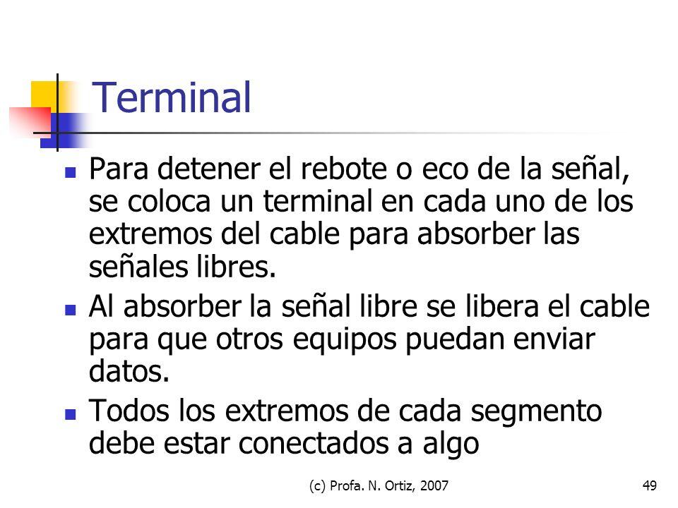 (c) Profa. N. Ortiz, 200749 Terminal Para detener el rebote o eco de la señal, se coloca un terminal en cada uno de los extremos del cable para absorb