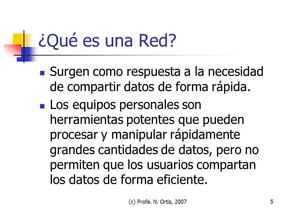 (c) Profa. N. Ortiz, 20075 ¿Qué es una Red? Surgen como respuesta a la necesidad de compartir datos de forma rápida. Los equipos personales son herram