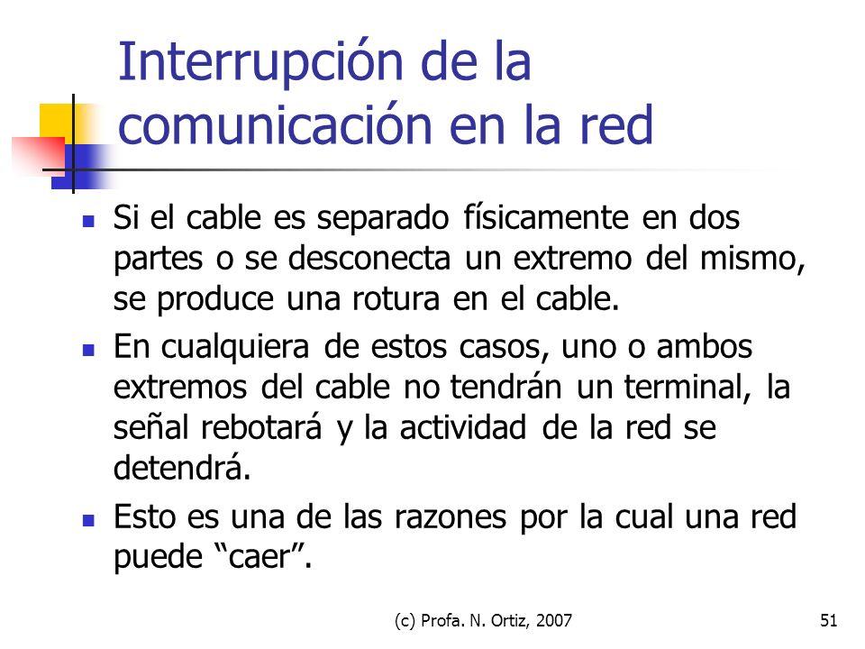 (c) Profa. N. Ortiz, 200751 Interrupción de la comunicación en la red Si el cable es separado físicamente en dos partes o se desconecta un extremo del