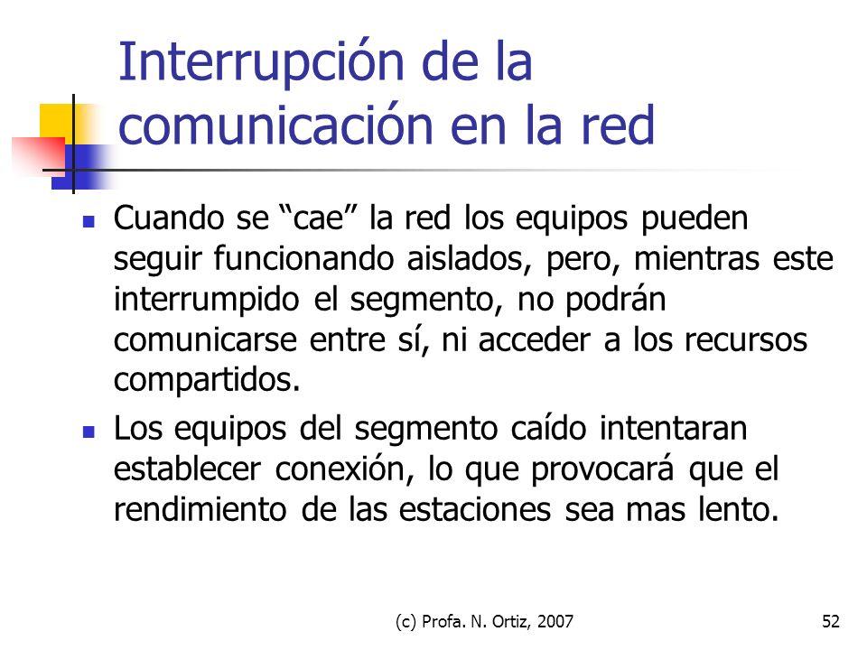 (c) Profa. N. Ortiz, 200752 Interrupción de la comunicación en la red Cuando se cae la red los equipos pueden seguir funcionando aislados, pero, mient
