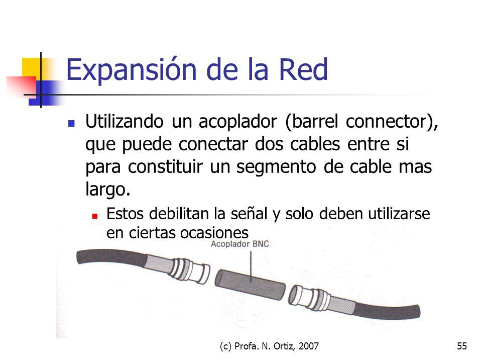 (c) Profa. N. Ortiz, 200755 Expansión de la Red Utilizando un acoplador (barrel connector), que puede conectar dos cables entre si para constituir un