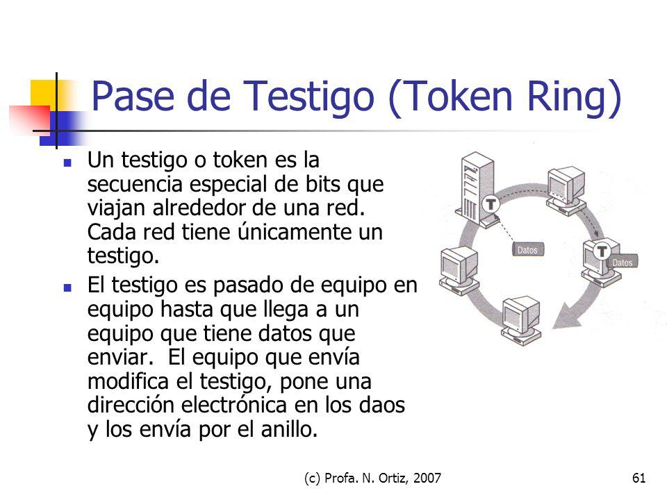 (c) Profa. N. Ortiz, 200761 Pase de Testigo (Token Ring) Un testigo o token es la secuencia especial de bits que viajan alrededor de una red. Cada red