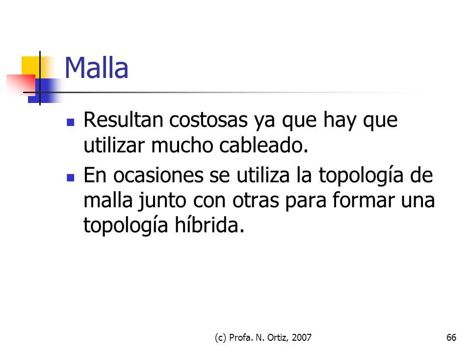 (c) Profa. N. Ortiz, 200766 Malla Resultan costosas ya que hay que utilizar mucho cableado. En ocasiones se utiliza la topología de malla junto con ot