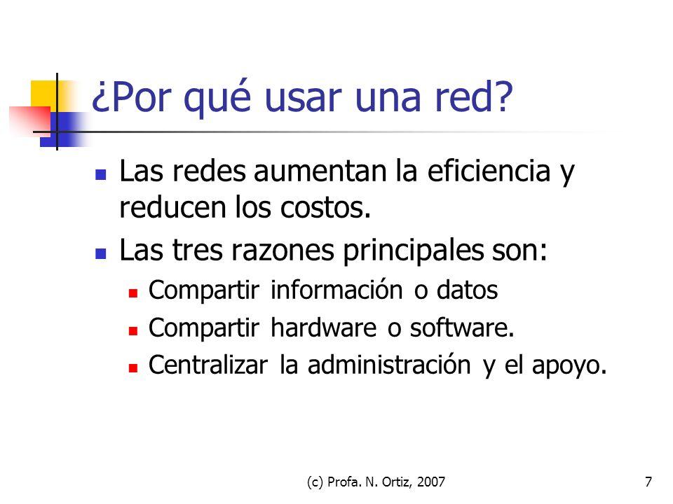 (c) Profa. N. Ortiz, 20077 ¿Por qué usar una red? Las redes aumentan la eficiencia y reducen los costos. Las tres razones principales son: Compartir i