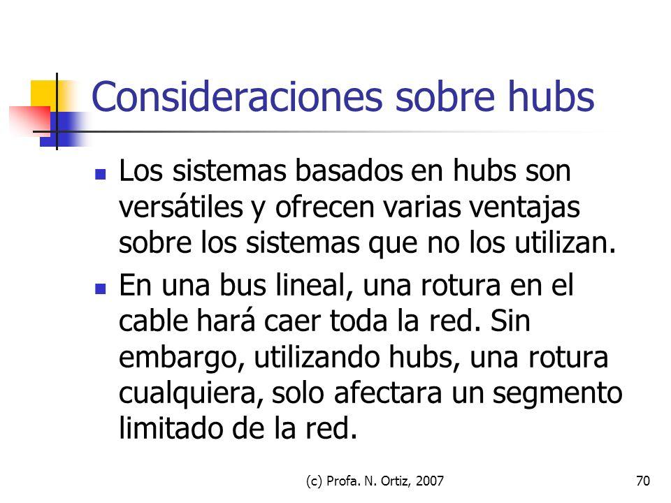 (c) Profa. N. Ortiz, 200770 Consideraciones sobre hubs Los sistemas basados en hubs son versátiles y ofrecen varias ventajas sobre los sistemas que no