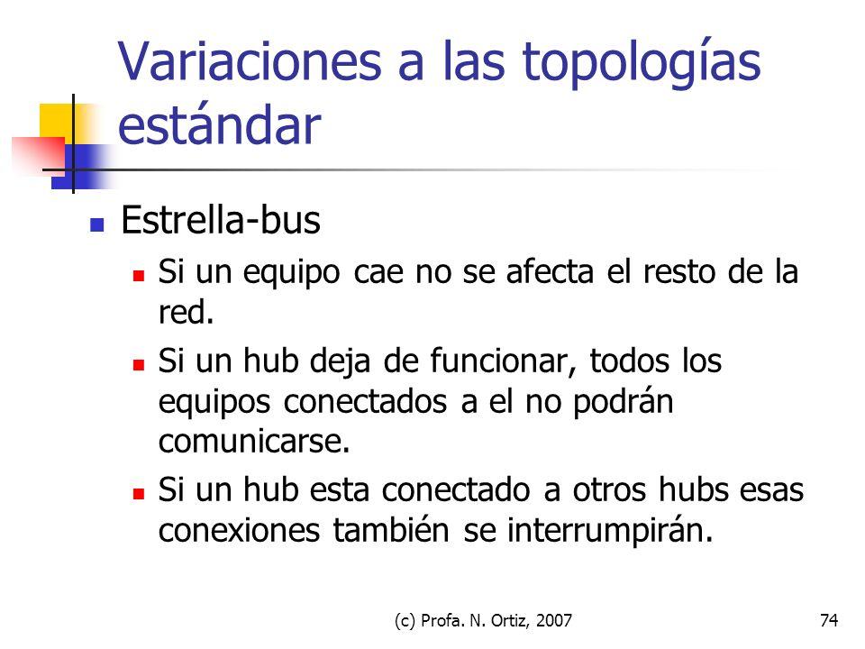 (c) Profa. N. Ortiz, 200774 Variaciones a las topologías estándar Estrella-bus Si un equipo cae no se afecta el resto de la red. Si un hub deja de fun