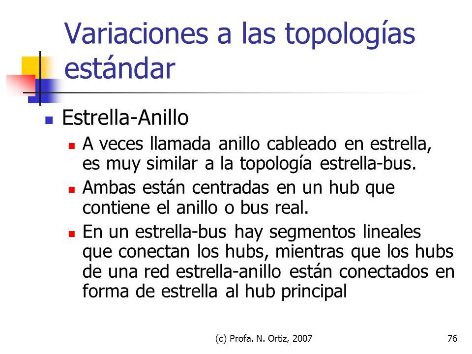 (c) Profa. N. Ortiz, 200776 Variaciones a las topologías estándar Estrella-Anillo A veces llamada anillo cableado en estrella, es muy similar a la top