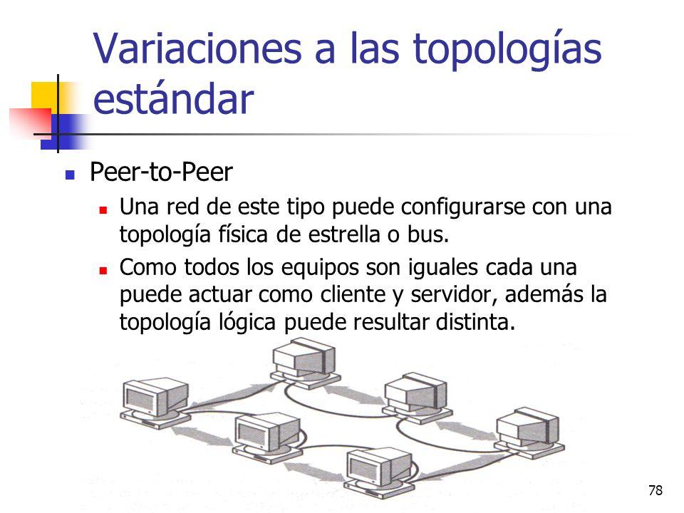(c) Profa. N. Ortiz, 200778 Variaciones a las topologías estándar Peer-to-Peer Una red de este tipo puede configurarse con una topología física de est