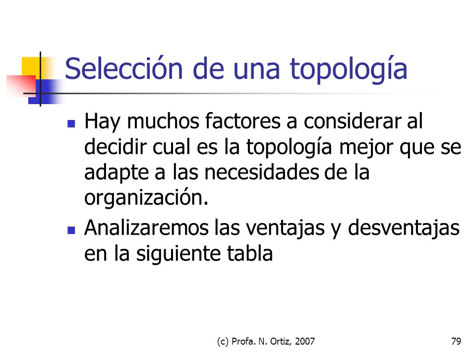 (c) Profa. N. Ortiz, 200779 Selección de una topología Hay muchos factores a considerar al decidir cual es la topología mejor que se adapte a las nece