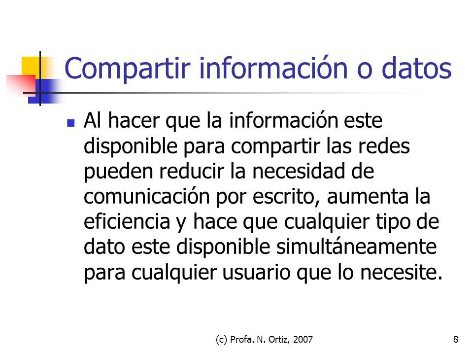(c) Profa. N. Ortiz, 20078 Compartir información o datos Al hacer que la información este disponible para compartir las redes pueden reducir la necesi