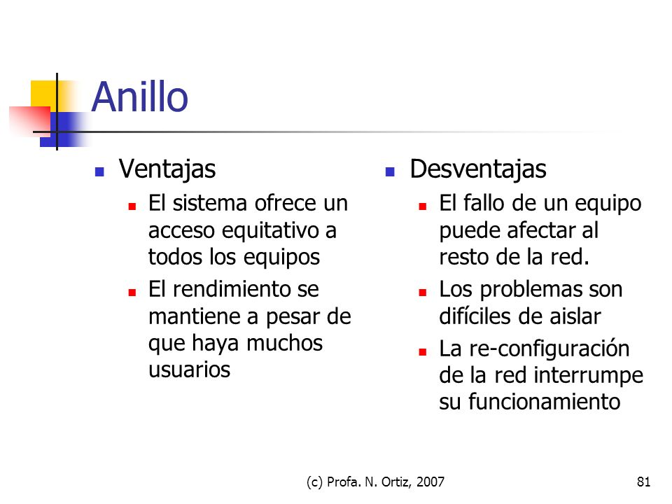 (c) Profa. N. Ortiz, 200781 Anillo Ventajas El sistema ofrece un acceso equitativo a todos los equipos El rendimiento se mantiene a pesar de que haya