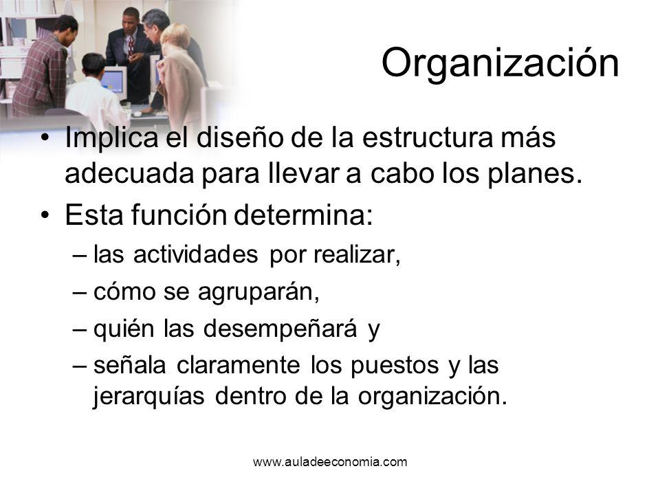 www.auladeeconomia.com Organización Una empresa no logrará sus objetivos si sus recursos no se manejan con base en una organización eficiente.