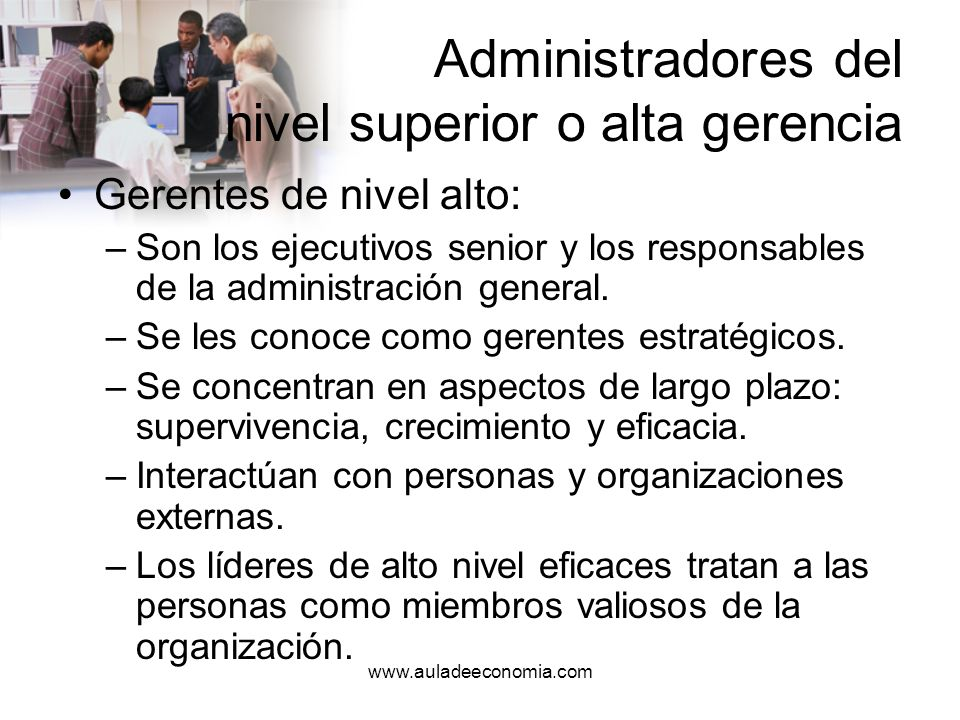 www.auladeeconomia.com Administradores de mandos medios o gerencia intermedia Gerente de nivel medio –A veces se les llama de gerentes tácticos.
