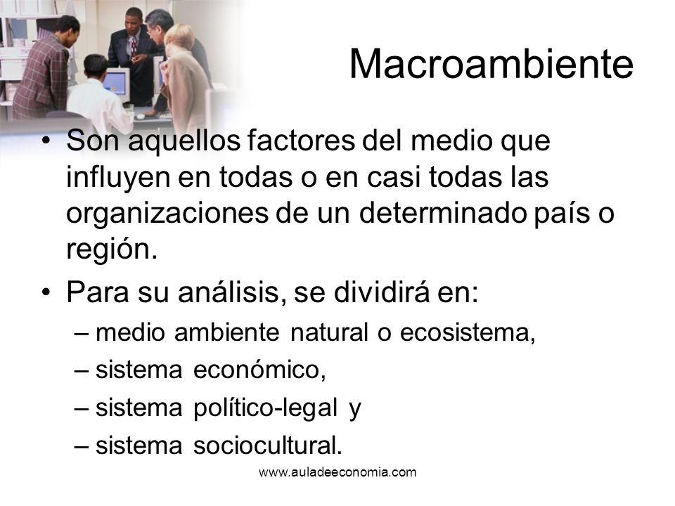 www.auladeeconomia.com Macroambiente En importante resaltar que todos estos elementos condicionan y son condicionados por las variables tecnológicas presentes.