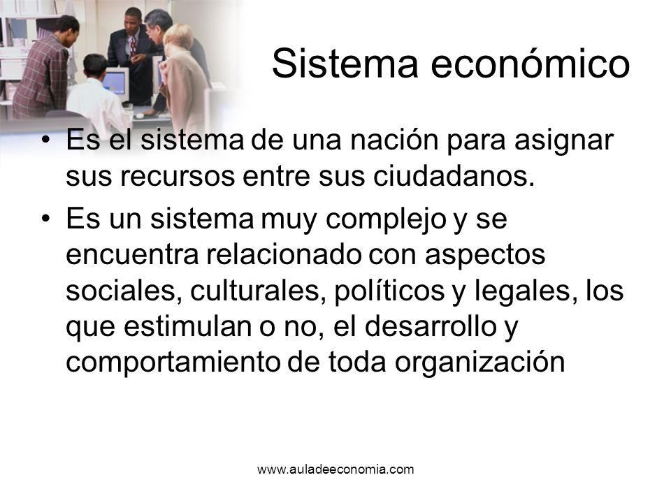 www.auladeeconomia.com Sistema económico Ejemplo: –Cuando las tasas de interés y la inflación influyen en la disponibilidad y en el costo del capital, en la capacidad para expandirse, en los precios, en los costos y en la demanda de los consumidores de los productos.