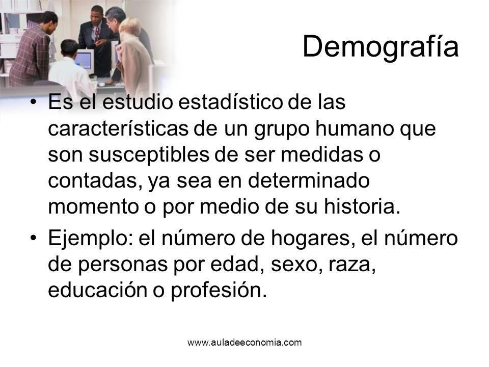 www.auladeeconomia.com Demografía Es la medida de diversas características de los pueblos, que comprende grupos u otras unidades sociales.