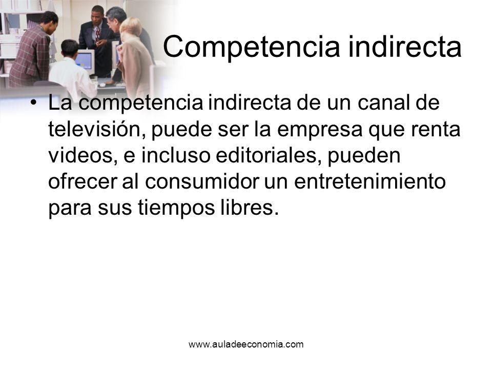 www.auladeeconomia.com Competencia potencial Son aquellos individuos u organizaciones que pueden convertirse en competencia directa o indirecta de una organización.