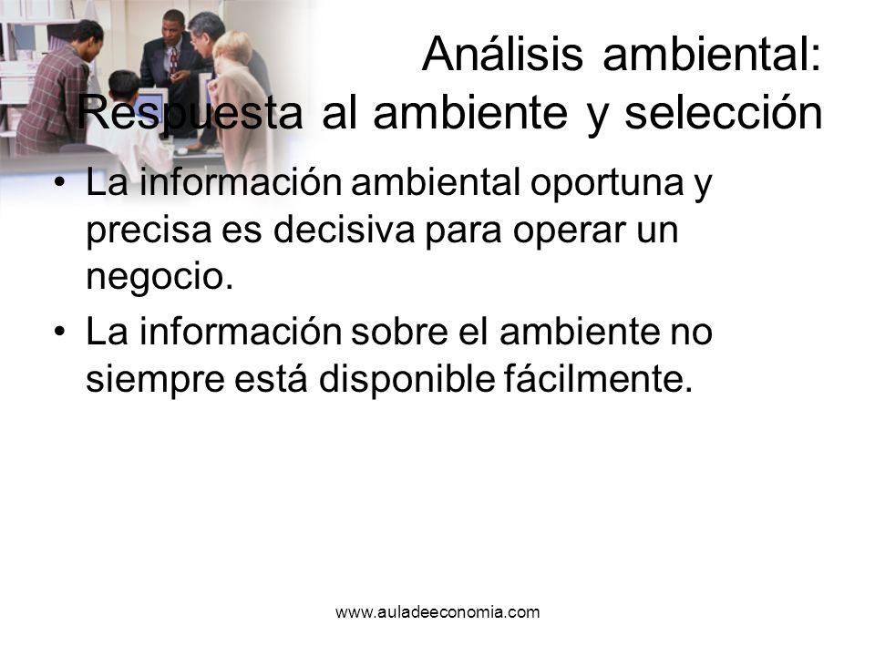 www.auladeeconomia.com Análisis ambiental Por incertidumbre ambiental se entiende que los gerentes no tienen información suficiente sobre el entorno.