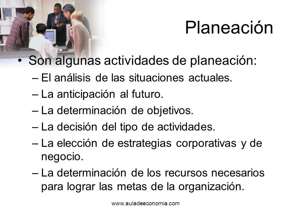 www.auladeeconomia.com Planeación ¿Qué se va a planear.