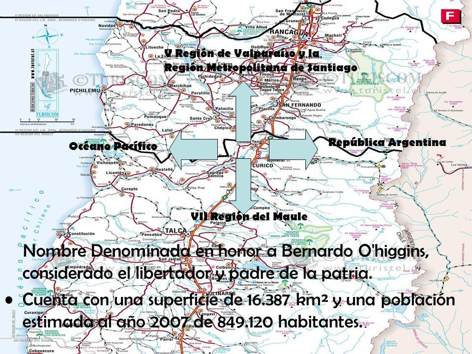 V Región de Valparaíso y la Región Metropolitana de Santiago VII Región del Maule República Argentina Océano Pacífico Nombre Denominada en honor a Ber