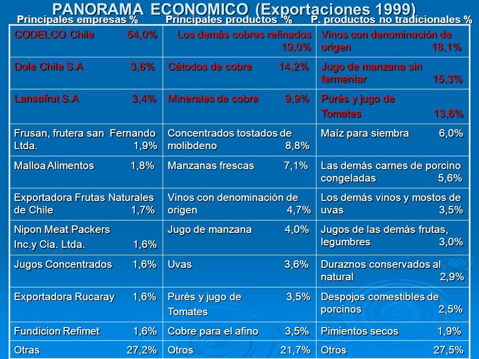 PANORAMA ECONOMICO (Exportaciones 1999) Principales empresas % Principales productos % P. productos no tradicionales % Principales empresas % Principa