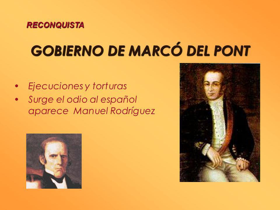 GOBIERNO DE OSORIO se inicia con el desastre de Rancagua, Octubre 1814 Se crea un Tribunal de Vindicación Destierro de patriotas a Juan Fernández RECO