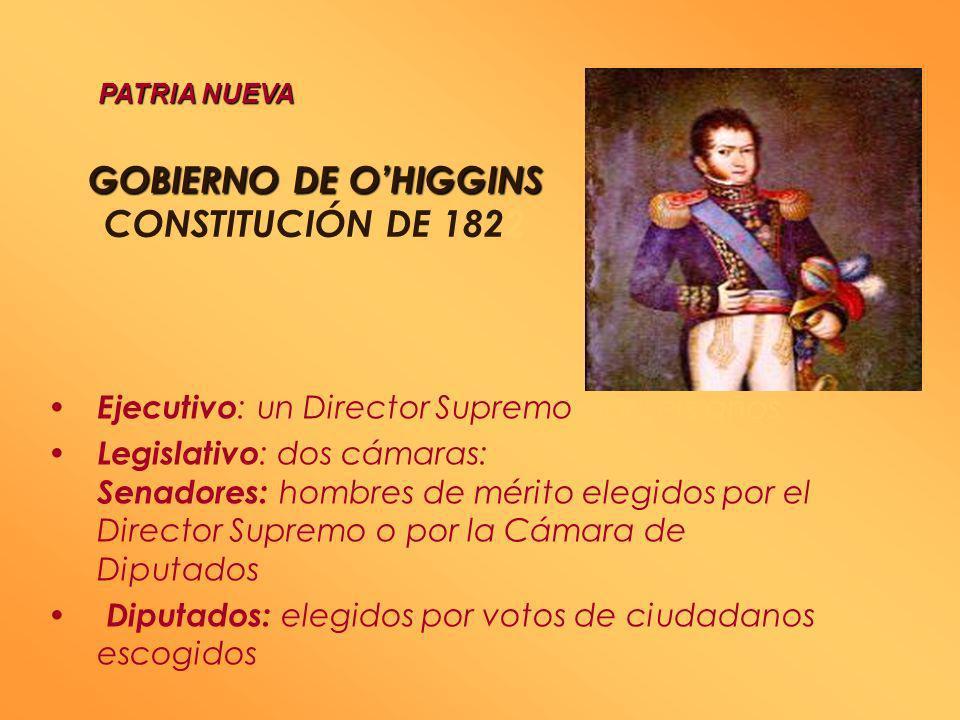 GOBIERNO DE OHIGGINS GOBIERNO DE OHIGGINS CONSTITUCIÓN DE 1818 Ejecutivo : un Director Supremo con amplias atribuciones Legislativo : un Senado Conser