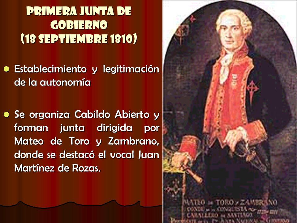 Primera Junta de Gobierno (18 Septiembre 1810) Establecimiento y legitimación de la autonomía Establecimiento y legitimación de la autonomía Se organi