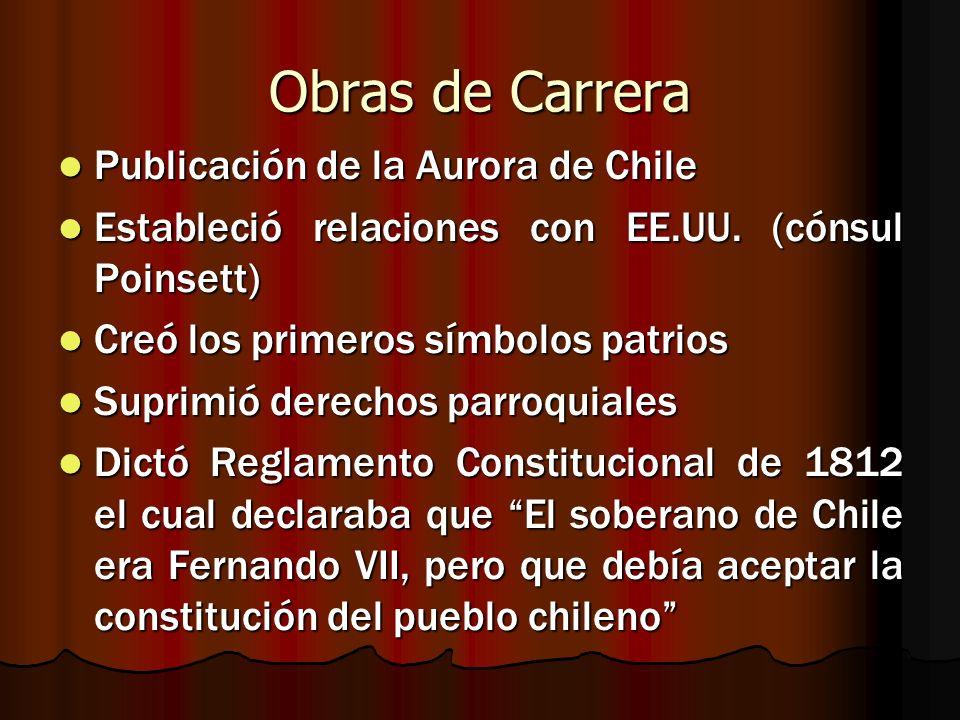Obras de Carrera Publicación de la Aurora de Chile Publicación de la Aurora de Chile Estableció relaciones con EE.UU. (cónsul Poinsett) Estableció rel