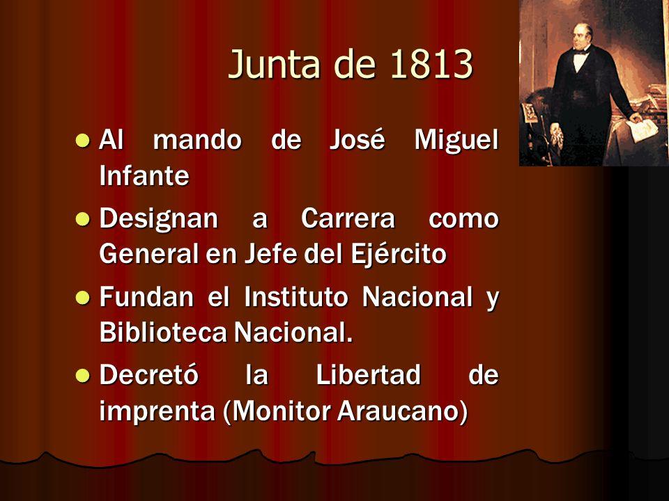 Junta de 1813 Al mando de José Miguel Infante Al mando de José Miguel Infante Designan a Carrera como General en Jefe del Ejército Designan a Carrera