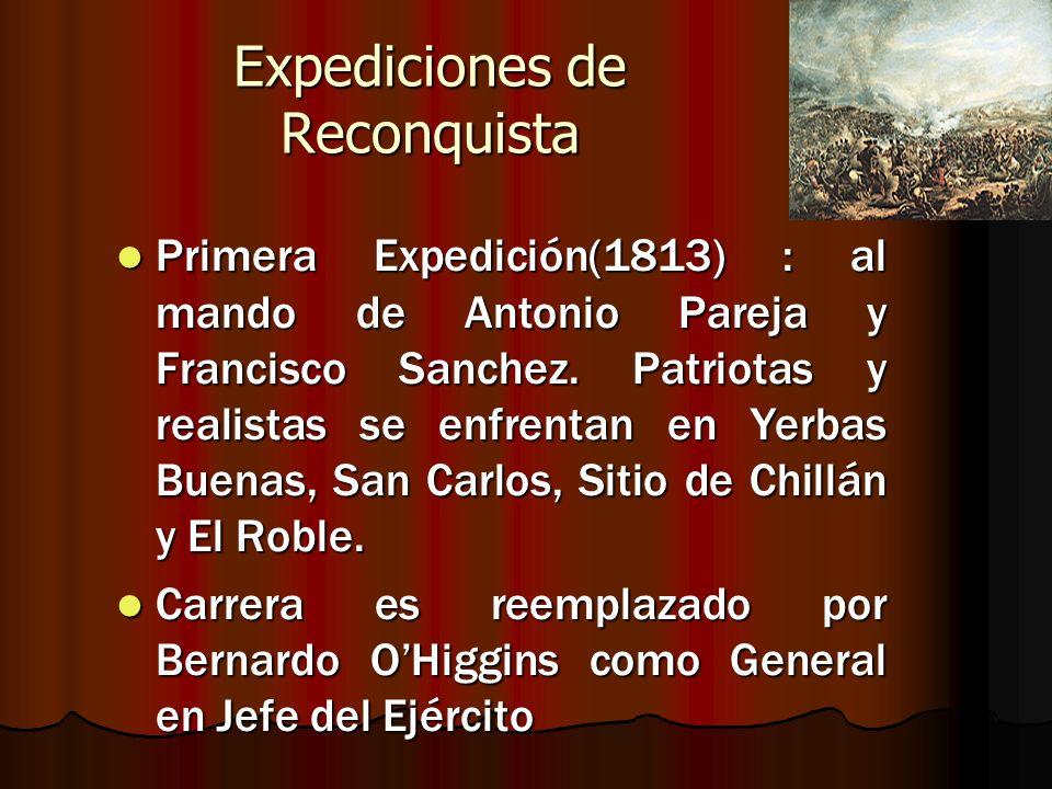 Expediciones de Reconquista Primera Expedición(1813) : al mando de Antonio Pareja y Francisco Sanchez. Patriotas y realistas se enfrentan en Yerbas Bu